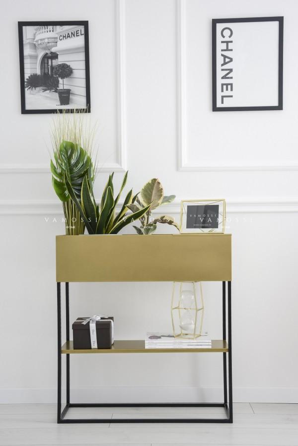 Metalowa konsola donica loftowa z półką złoto-czarna