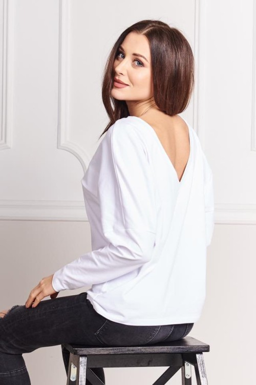 BLUZKA BASIC V-NECK BIEL