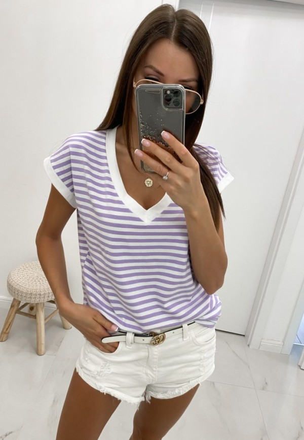 T-SHIRT V-NECK LILA STRIPES