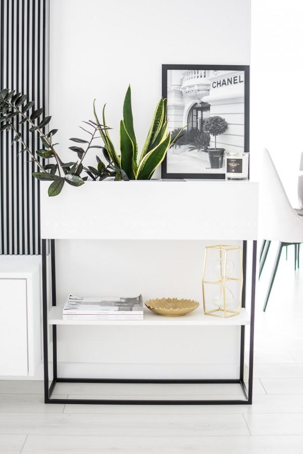 Metalowa donica loftowa z półką biało-czarna